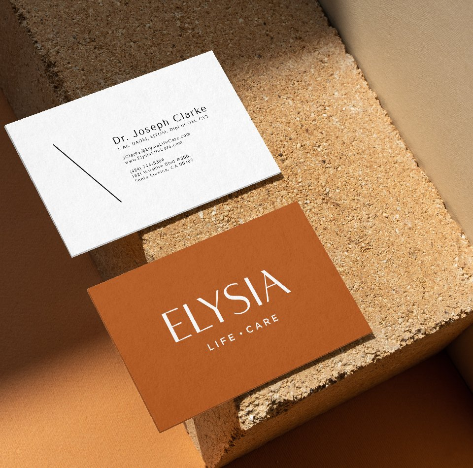 branded marketing collateral for Elysia Life Care